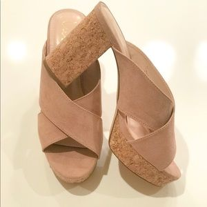 Thick heel shoe. Color is more of a mauve nude